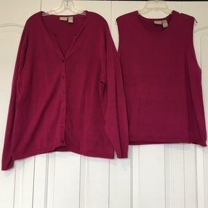 Sweaters - Magenta Sweater Twin Set, Size 2X